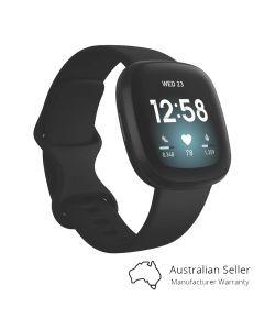 Fitbit Versa 3 Advanced Fitness Watch - Black/Black - main