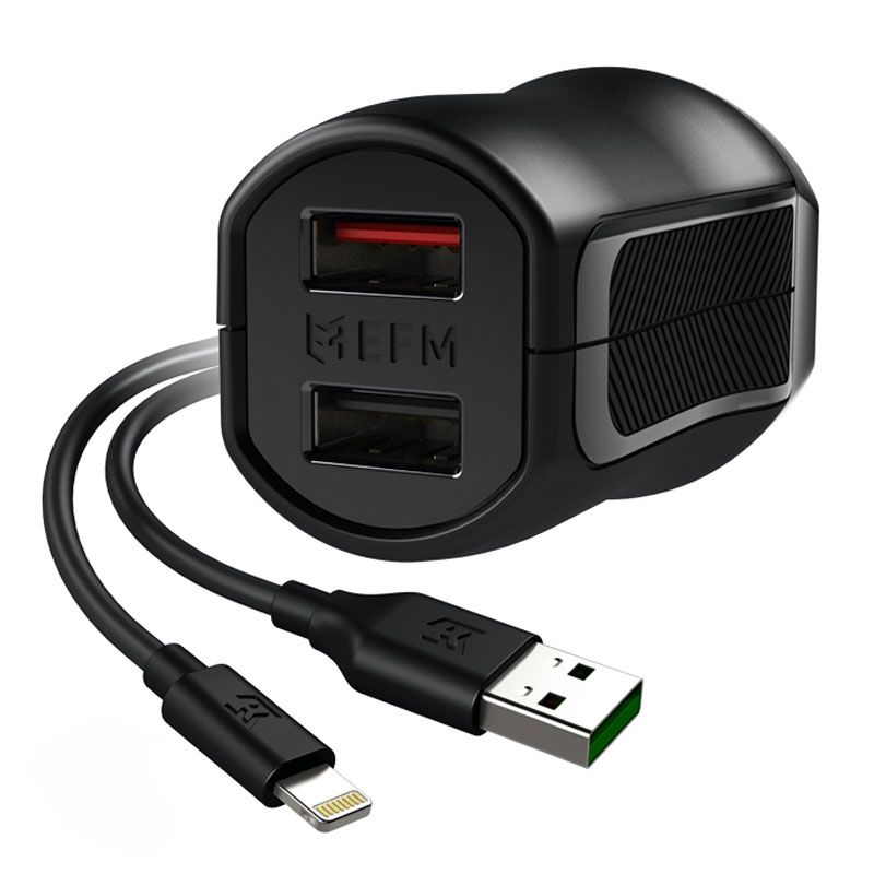 EFM 17W Dual Wall Charger with Lightning Cable - Black - , 100% Australian Stock