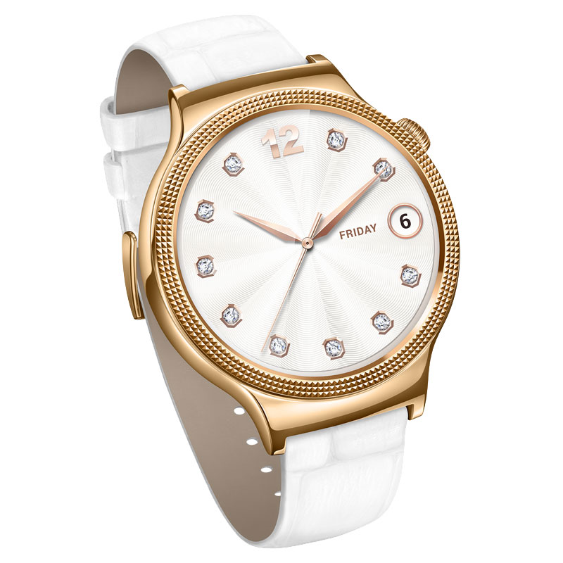 Huawei W1 Elegant Watch (Rose Gold Plated) Leather Strap - Pearl White - , 100% Australian Stock