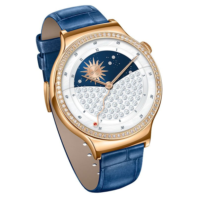 Huawei W1 Jewel Watch (Rose Gold Plated) - Blue Leather Strap - , 100% Australian Stock