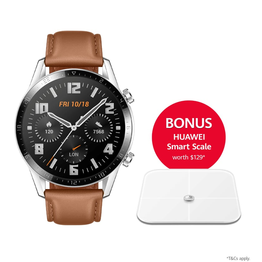 Huawei Watch GT 2 Classic 46mm Smartwatch (Bonus Smart Scale w/ Redemption) - Pebble Brown