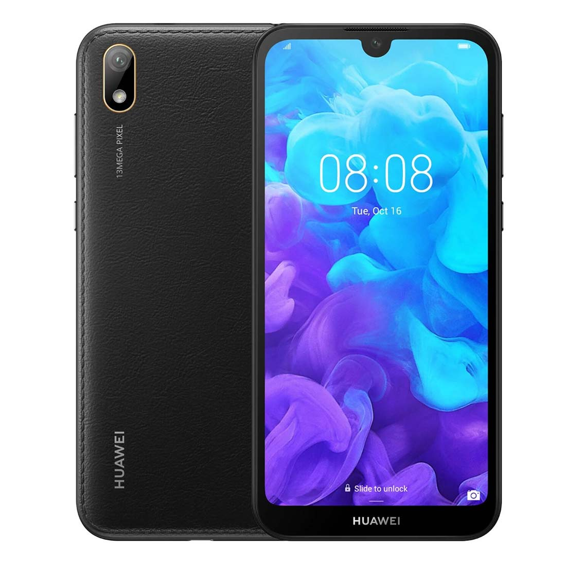 Huawei Y5 2019 (Dual SIM 4G/4G, 32GB/2GB, Faux Leather) - Modern Black