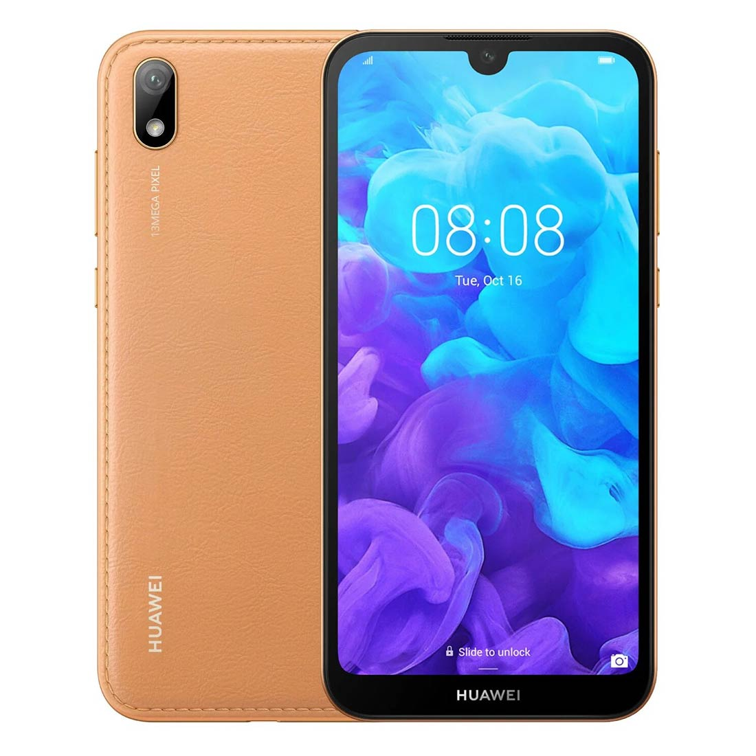 Huawei Y5 2019 (Dual SIM 4G/4G, 32GB/2GB, Faux Leather) - Amber Brown