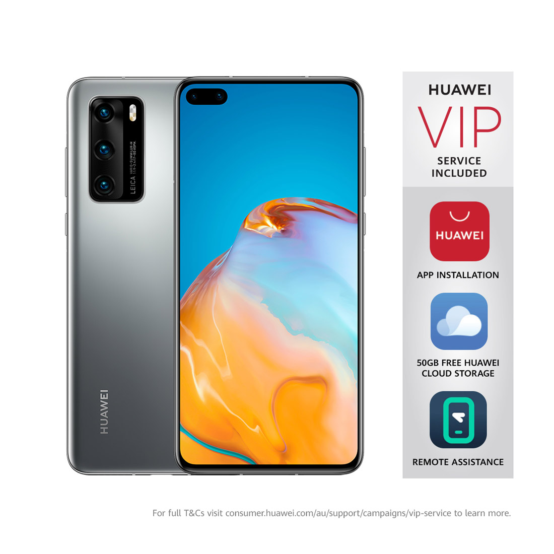 "Huawei P40 5G (Dual SIM, 6.1"", 50MP) - Silver Frost"
