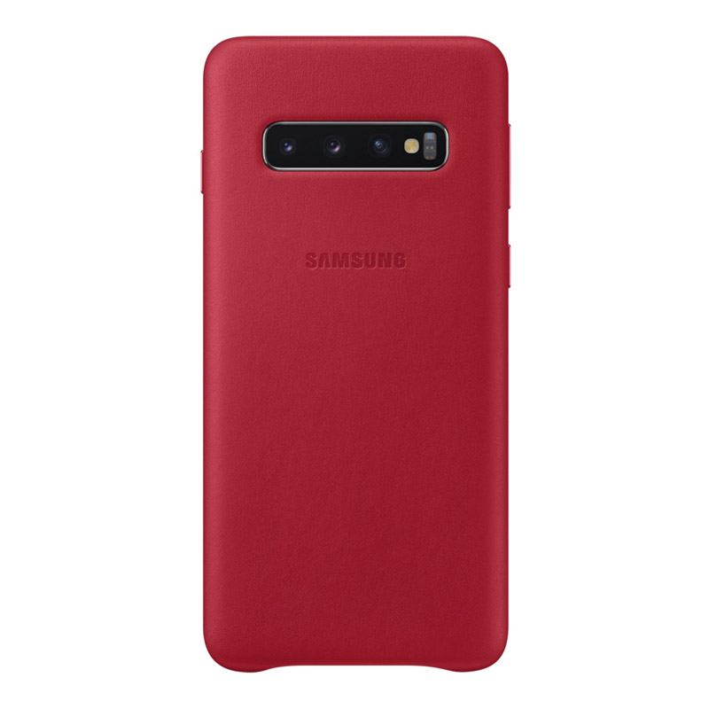 Samsung Galaxy S10 Leather Back Cover - Red