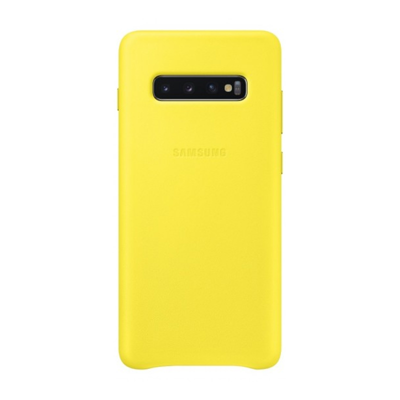 Samsung Galaxy S10+ Plus Leather Back Cover - Yellow