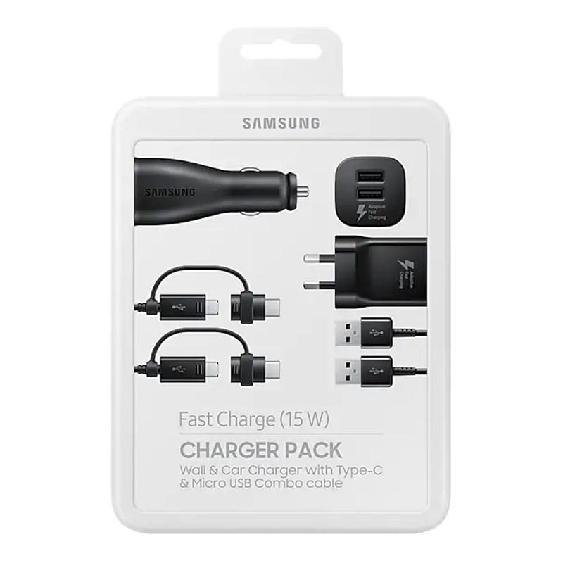 Samsung 15W Fast Charge Charger Pack (Wall + Car Charger + 2 Combo Cables)