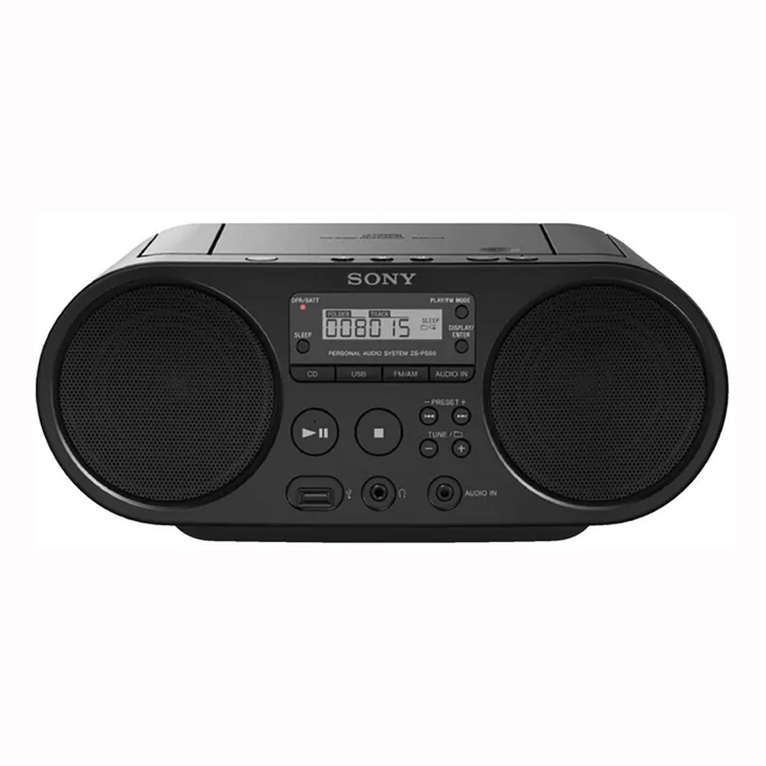 Sony ZS-PS50 CD Boombox with AM/FM Radio Tuner & USB Playback - Black