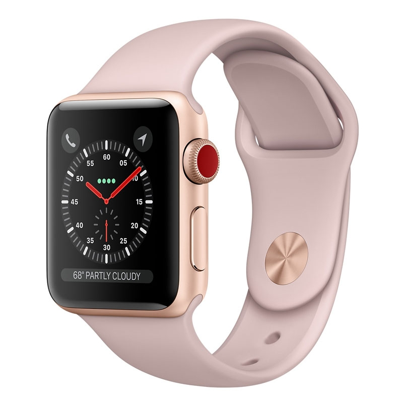 [Open Box - As New] Apple Watch 38mm S3 (Cellular) - Gold Al Case w/ Pink Sand Sport Band
