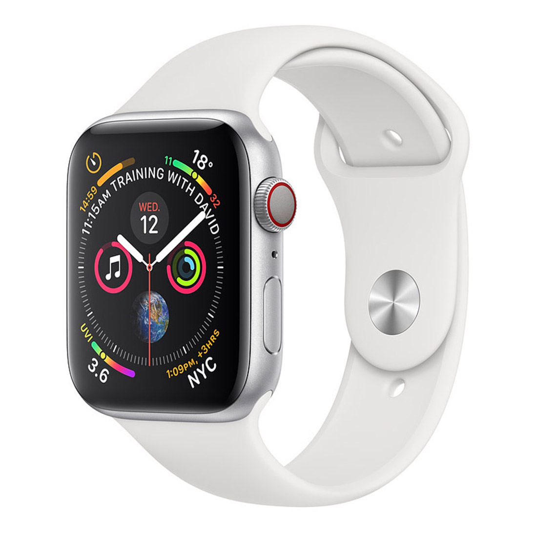 [Good Condition - Pre Owned] Apple Watch 40mm S4 (Cellular) - Silver Al Case w/ White Sport Band