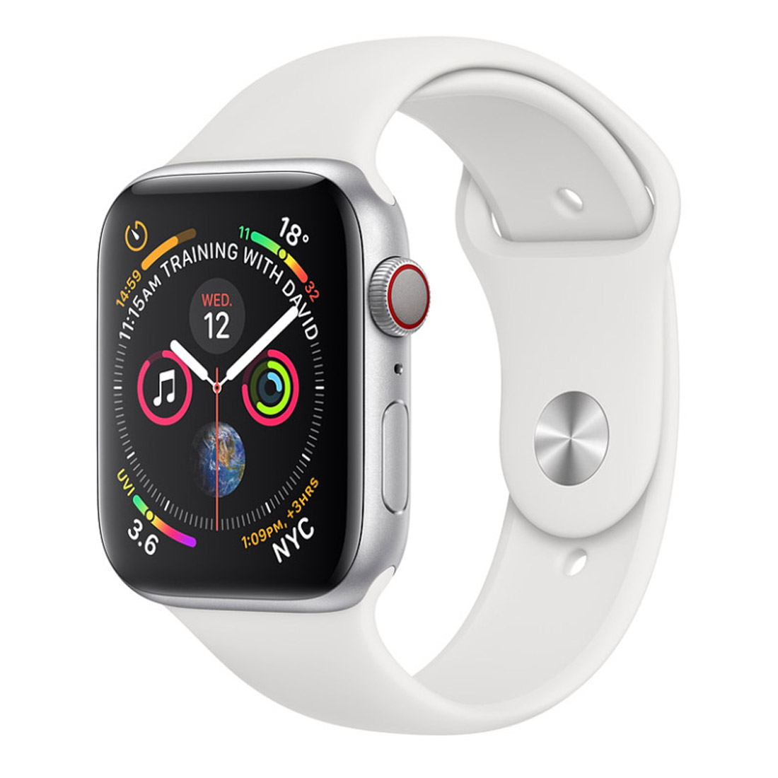 [Good Condition - Pre Owned] Apple Watch 44mm S4 (Cellular) - Silver Al Case w/ White Sport Band