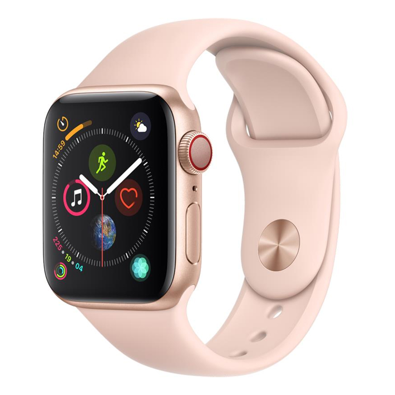[Working Condition] Apple Watch S4 40mm (Cellular) Gold Al Case w/ Pink Sand Sports Band