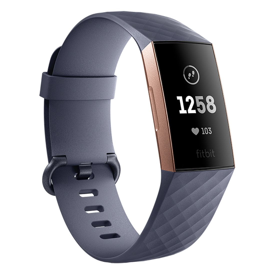 Fitbit Charge 3 Advanced Health and Fitness Tracker - Blue Grey/Rose Gold Aluminium