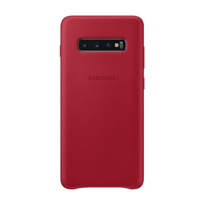 Samsung Galaxy S10+ Plus Leather Back Cover - Red